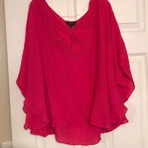 Shocking pink scoop neck blouse!